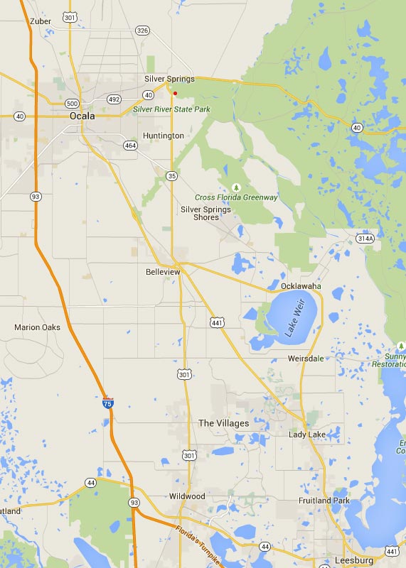 Silver Springs Florida Map directions to Silver Springs State Park